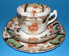 Teacup Trio Imari Edwardian English Ironstone Rust Green Gold Downton Abbey