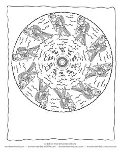 Fish Mandala Coloring page - Goldfish Coloring Page 3 here a goldfish is happily splashing about in the water maybe with some mini rainbow fish for company  in this fish mandala picture, this is a blank animal mandala template with no wording added