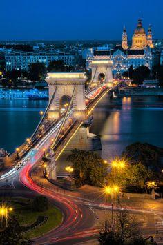 The Szechenyi Chain Bridge at Night, Budapest Hungary © César Asensio Marco