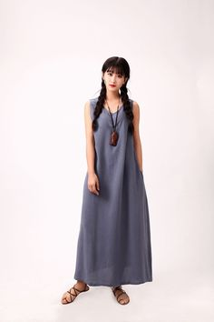 Linen dress Maxi dress Casual loose dress Sundress Party dress Extravagant long Dress Custom-made Plus size Summer dress Large size dress