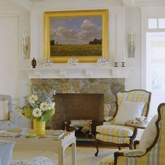 """Stone Veneer Fireplace. """"Dress up a drab hearth with stone veneers. The manufactured product adds the warmth of stone to a room, but at half the price. Firebox brick liners also give an authentic appearance without the hassle and high cost of laying bricks."""""""