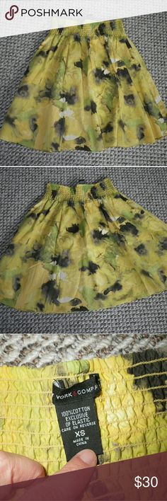 New York & Company Funky Tye-Dyed-Ish Cotton Skirt Like new.  Fun and funky.  Great to coordinate colors or completely contrast them.  Looks cute with Converse or Rocket Dog sneakers too!  This brand sizing runs slightly large.  Elastic waist.  Yellow interior lining.  Can fit XS or SMALL. ●Belt available upon request● New York & Company Skirts