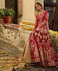 Red Bridal dress in Silk Georgette embellished with beads, crystals, Swaroski, Kasab, Dabka and Sequins. For booking please contact Pakistani Formal Dresses, Pakistani Bridal Dresses, Pakistani Wedding Dresses, Pakistani Dress Design, Pakistani Outfits, Pakistani Gharara, Walima Dress, Shadi Dresses, Sikh Wedding