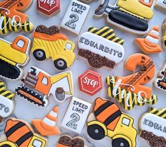 Fall Cookies, Cookies For Kids, Valentine Cookies, Birthday Cookies, Race Car Birthday, Cars Birthday Parties, 1st Boy Birthday, Construction Birthday Parties, Construction Party
