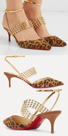 Christian Louboutin Shoes. Christian Louboutin Leopard Print Shoes. Animal Print Shoes. Leopard print Shoes. How to wear animal print. Animal Print outfit ideas. Animal Print accessories. Animal Print trend. Christian Louboutin Levita Shoes. Christian Louboutin's 'Levita' pumps have been made from soft leopard-print suede with gold leather and PVC straps adorned with the brand's signature polished spikes. Animal Print outfit ideas for Autumn. #louboutins #shoes #fashion #christianlouboutin Leopard Print Outfits, Leopard Print Shoes, Animal Print Outfits, Animal Print Fashion, Shoes For Wedding Guest, Mother Of The Bride Shoes, Trending Sunglasses, Killer Heels, Winter Fashion Outfits