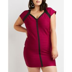 Charlotte Russe Bandage Bodycon Dress (79 BRL) ❤ liked on Polyvore featuring plus size women's fashion, plus size clothing, plus size dresses, purple, plus size v neck dress, purple plus size cocktail dresses, v neck cocktail dress, bandage dresses and plus size bodycon dresses
