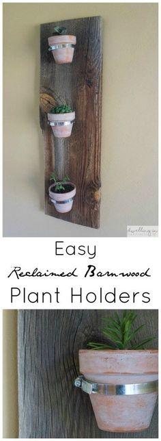 Easy Reclaimed Barnwood Indoor Plant Holders