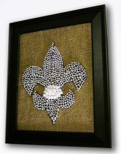 Framed Silver Fleur De Lis Burlap Mardi Gras Bead Mosaic by nolabeadart, $55.00