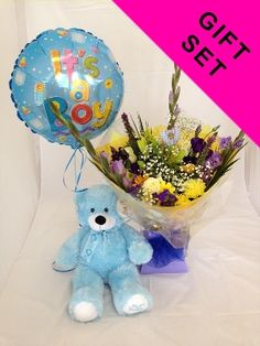 Our baby boy bliss flowers & gift set features a gorgeous hand-tied flower bouquet with balloon and a cute cuddly toy, Hand-tied bouquet, flower arrangement, new baby flowers, balloon, white rose, spray chrysanthemum, statice, gerbera, lisianthius, unforgettable flowers cork, florist cork, flower shop, florist shop, florist, flowers