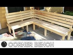 """In today's project we knock out a simple Corner Bench or """"L"""" shaped bench. How ever you want to describe it, this bench will look great on your back porch. Deck Bench Seating, Porch Bench, Corner Seating, Diy Porch, Diy Patio, Backyard Walkway, Porch Ideas, Outdoor Corner Bench, Outside Benches"""