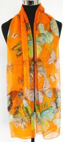 Prettystern - 165cm Seidenschal - tanzende Schmetterling (orange)
