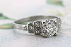 Art Deco Engagement Ring | 1920s Engraved Ring | Antique Platinum Ring | Vintage Diamond Wedding Ring | Edwardian Ring | Size 4.25 from Ferguson's Fine Jewelry on Etsy