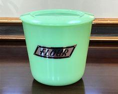 McKee Jadeite 48 Ounce Foil Label FLOUR Canister Jar ~ Jadite Skokie Green