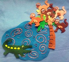 This is a 8 piece handmade felt board set featuring goes along with the traditional rhyme Teasing Mr. Alligator. This set includes: 1 story