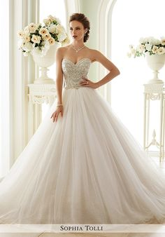 Strapless tulle ball gown with sweetheart neckline and bead embroidered bodice I Style: Y21663 Novella I by Sophia Tolli I http://knot.ly/6494B2zby
