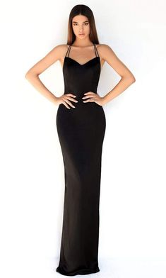 Dress to impress on your next formal event in this simple but captivating dress by Tarik Ediz 50855. This long dress graces in a sleeveless, V neckline with dual straps. The dress has a fitted bodice and an open back. The skirt is tailored in a full length sheath silhouette with a back slit. This Tarik Ediz style is a sure standout on your next evening social event. Event Dresses, Pageant Dresses, Simple Black Prom Dress, Hourglass Dress, Hourglass Body, Satin Bridesmaid Dresses, Fitted Bodice, Sheath Dress, Dress To Impress