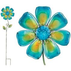 Regal Art and Gift Glass Flower Garden Stake (42in H) Blue at Sears.com