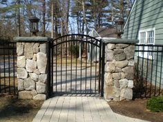 rod iron living room | Recent project wrought iron fence and gate with stone columns Recent ...
