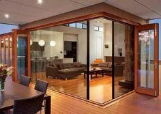 LaCantina Bifold Doors pleated screens for french doors French Doors With Screens, Windows And Doors, Stacker Doors, Retractable Door, Interior Design Degree, Corner Door, Dyi, Screened In Patio, Front Deck