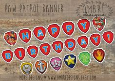 Paw Patrol Banner, INSTANT DOWNLOAD, Paw Patrol Party, Paw Patrol Decorations…