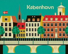 Copenhagen, Denmark City Art - 8 x 10 Horizontal City Art Poster Print for Home, Office, and Nursery Rooms - style E8-O-COP on Etsy, $26.00