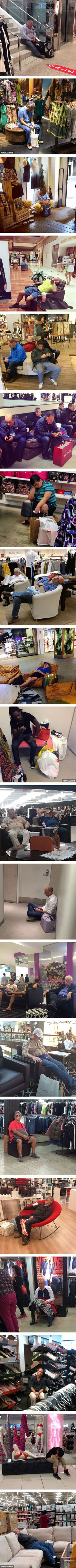 Photos of Miserable Men Trapped In Shopping Hell