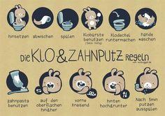 'Klo & Zahnputzregeln für Kinder' Poster von Schlogger - Another! Gentle Parenting, Kids And Parenting, Parenting Hacks, Biochemistry Major, Baby Co, Diy Baby, Baby Kind, Poster On, Diy For Kids