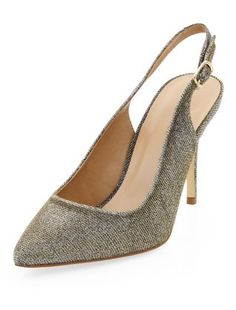 Gold Glitter Pointed Sling Back Heels | New Look