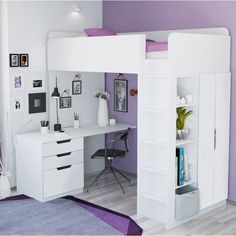 Kids High Sleeper Bed with Wardrobe, Desk and Bookcase - Bed For Girls Room, Small Room Bedroom, Bedroom Decor, Kids Room, Kid Bedrooms, Cute Bedroom Ideas, Girl Bedroom Designs, Bed Ideas, Loft Bed Storage