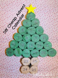 DIY Cheap Advent Calendar- made from toilet paper rolls and tissue paper! @Coffee With Us 3 #advent #Christmas