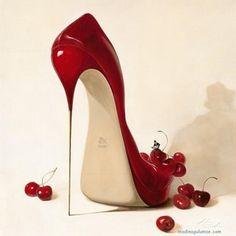 Valentine's Day inspiration: Heel Art -- Cherry Red
