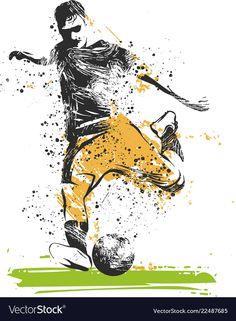Soccer player kicking ball of sport vector image on VectorStock Football Tattoo, Football Art, Girl Playing Soccer, Kids Baseball Caps, Sports Drawings, Girl Drawing Sketches, Cartoon Jokes, Soccer Players, Art Projects