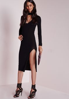 Missguided - Cut Out Thigh Split Midi Dress Black