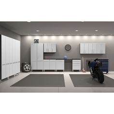 Keep your work area neat and tidy using this 12-piece garage storage kit from Ulti-Mate. With a versatile design that allows for several placement options, this kit features tall cabinets and space-sa