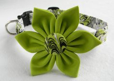 Dog Collar Flower Set- Lime Green Waves Fabric Collar with Flower