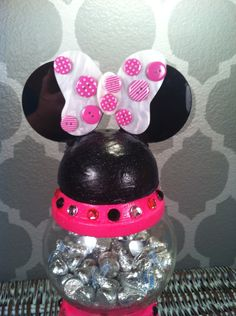 Hot Pink Minnie Mouse gumball clay pot candy dish