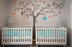 Orange, Aqua and Gray Twin Nursery