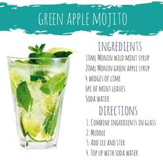 Here's a non alcoholic mojito for those summer nights ☀️🌚 Non Alcoholic Mojito, Mojito Mocktail, Mojito Recipe, Easy Mocktail Recipes, Snack Recipes, Green Apple Recipes, Mojito Ingredients, Power Smoothie, Soda Recipe