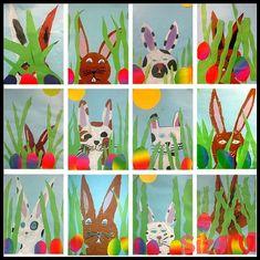 Art classes – Am Lindenberg school – Kids Spring Art Projects, Easter Projects, Spring Crafts, Projects For Kids, Kindergarten Art Projects, Classroom Art Projects, Art Classroom, Bunny Crafts, Easter Crafts