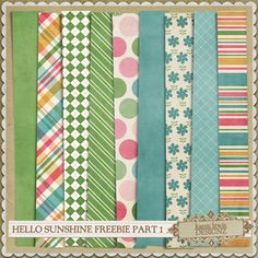 FREE Hello Sunshine Papers (part 1)  to download  - by Karen Lewis Designz