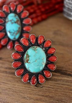 color scheme inspiration - Mediterranean Coral and Royston Turquoise Ring Navajo Handmade Nelvin Burbank Navajo Jewelry, Southwest Jewelry, I Love Jewelry, Beaded Jewelry, Western Jewelry, Silver Jewelry, Silver Ring, Jewelry Making, Boho Jewelry