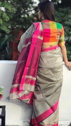 Cotton Saree Blouse Designs 2019 Back Neck Cotton Saree Blouse Designs, Fancy Blouse Designs, Blouse Patterns, Sari Blouse, Saree Dress, Dress Designs, Checks Saree, Sari Design, Modern Saree