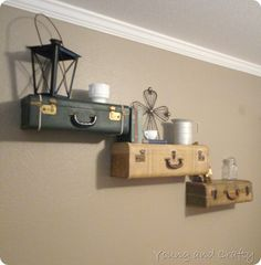 Vintage Suitcase Shelves {Young and Crafty}