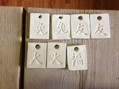 a few pendants which are ready after carving
