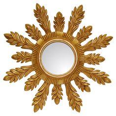 Workmanship In Mid Century French Giltwood Gold Gilt Sunburst Starburst Mirror Exquisite