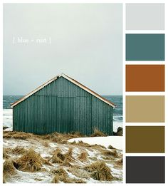 Love this color combo for a project.Colour palette: Iced blue, muted teal, copper, dark cream, moss green/brown and dark grey Copper Colour Palette, Blue Colour Palette, Colour Schemes, Color Palettes, Color Combinations, Copper Color, Autumn Color Palette, Exterior Colors, Exterior Paint