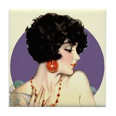 Art Deco Flapper Art Print 8 x 10 - Roaring - Jazz Age - Pin Up with Red Jewelry - Iconic Pinup Art, Illustrations Vintage, Art Deco Illustration, Illustration Children, Vintage Prints, Vintage Posters, Vintage Art, Red Jewelry, Art Deco Jewelry