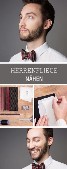 Kostenlose Nähanleitung für eine Herrenfliege / sewing tutorial for a bow tie via DaWanda.com