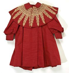 Child's red silk coat with lace appliquéd collar, American, ca. 1896.