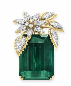 Tourmaline and Diamond 'Four Leaves' Brooch ~ Schlumberger